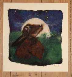 Wishing On A Star, felted picture of a hare in the moonlight, mounted ready to frame by GardenGalleryDerbys on Etsy