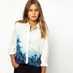New Fashion Sexy Blue Floral Print Chiffon Blouse