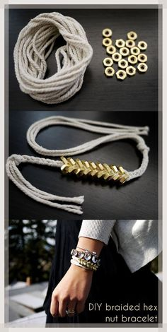 Hex Nut Bracelet   Are you ready for this cool hex nut bracelet? DIY Ready #Diy #jewlery #bracelets