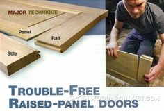 Trouble-Free Raised Panel Doors - Cabinet Door Construction and Techniques - Woodwork, Woodworking, Woodworking Plans, Woodworking Projects Built In Cabinets, Diy Cabinets, Kitchen Cabinets, Woodworking Techniques, Woodworking Projects, Fine Woodworking, Wood Trash Can, Fish Tank Stand, Diy Cabinet Doors