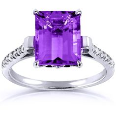 Emerald-cut Amethyst and Diamond Engagement Ring 2 2/5 Carat (ctw) in... ($285) ❤ liked on Polyvore