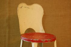 Vintage Chippy Metal Childs Chair 1940's red by PickersWarehouse