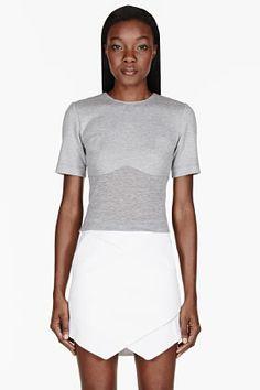 Dion Lee Grey Bonded Piece T-shirt for women | SSENSE