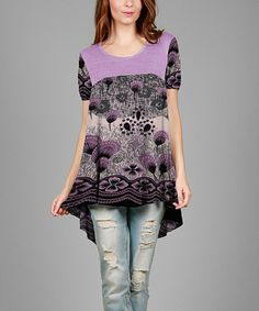 Look what I found on #zulily! Lavender & Black Floral Hi-Low Tunic - Plus #zulilyfinds