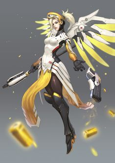 Fanart for Overwatch Mercy - blueartのイラスト - pixiv Overwatch Females, Overwatch Drawings, Overwatch Comic, Overwatch Fan Art, Overwatch Mercy, Mercy Fanart, Character Concept, Character Design, Overwatch Wallpapers