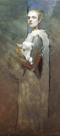 Thierry Marchal - painting - Protect them. Don't support the wool industry. Cruelty - Animal Rights - Sheep - Woman
