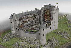 A model of what Kilchurn Castles interior looked like when in use. Scotland