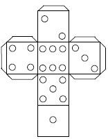 template of dice with white dots