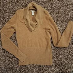 SOFT sparkly cowl neck sweater Super soft sparkly caramel colored cowl neck sweater!     So comfortable and cute! Perfect for Fall! In excellent condition! Worthington Sweaters Cowl & Turtlenecks