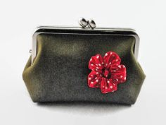 Olive x Red Frame Pouch  Gamaguchi Cosmetic by KnKCraftsAndDesigns, $19.90