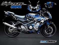 Striping Ninja 150 RR New Hitam Motif Sikspak Biru -Cutting Sticker Modifikasi Ninja 150 RR Hitam Tengkorak