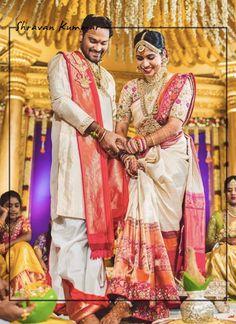 Indian Groom, South Indian Bride, Bridal Silk Saree, Saree Wedding, Bridal Looks, Bridal Style, Couple Wedding Dress, Groom Wear, Bride Groom