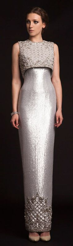 {Beautiful shimmering metallic column gown featuring a coordinating crop top topper by krikor jabotian spring Beautiful Gowns, Beautiful Outfits, Couture Wedding Gowns, Wedding Dresses, Prom Dresses, Shift Dresses, Cheap Dresses, Bridesmaid Dress, Bridal Gowns
