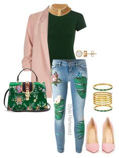 """Untitled #361"" by sherristylz on Polyvore featuring TIBI, River Island, Dolce&Gabbana, Christian Louboutin, Kate Spade, Balmain, Kenneth Jay Lane and Gucci"