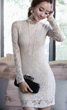 Allover lace long sleeve minidress  |  LUXE ASIAN WOMEN STYLE KOREAN FASHION CLOTHES Hayinek Gold Dress