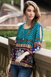 Riverton Printed Cold Shoulder Blouse- I like the patterns and colors in this top Interesting style that I'd like to try.