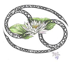 Cancer Zodiac sign with a Lotus! I need this!! This would make an awesome tatt!