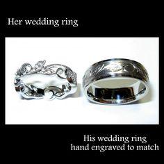 Engraving to match wedding bands! It looks elvish