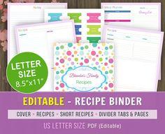 Editable Recipe Book Binder, Letter Size, Planner Pages, Cook Book, Editable Recipe Book, Recipe Binder Printable,Recipe Kit, Kitchen Book