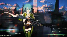 Sinon Sniper Rifle Gun Gale Online 2 Anime Girl 2560×1440