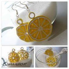 quilled lemon earrings