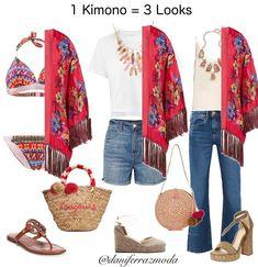 Eu usaria os 3 looks. E vocês qual gostam mais? Travel Outfit Summer, Summer Outfits, Casual Outfits, Cute Outfits, Classy Casual, Casual Looks, Look Kimono, I Love Fashion, Womens Fashion