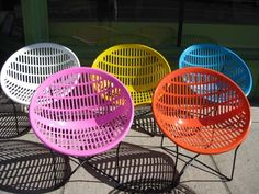 Vintage 1970's Solair hoop/clam chairs. Designed by Fabio Fabiano & Michelange Panzini made in Canada.