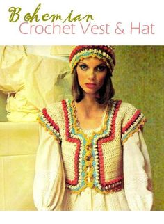 Vintage 70's Crochet Vest & Hat - PDF Pattern - Instant Download by KinzieWoolShop on Etsy https://www.etsy.com/listing/166871783/vintage-70s-crochet-vest-hat-pdf-pattern