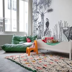 Designers Cécile Figuette and Frédéric Bonnin of French brand Minakani Lab create hand-illustrated wallpaper and panoramas that are larger-than-life