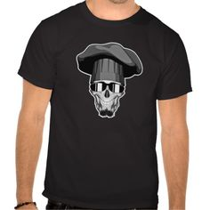 Hipster Chef Skull T-shirts Black and white bearded hipster chef skull wearing sunglasses and traditional chef hat. Also, sporting a chin puff style beard.