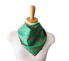 Vintage 70s Fashion Scarf  Red Green  by bluebutterflyvintage, $8.00