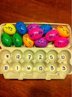 Students match the addition or subtraction sentence on the egg to the number on the carton.