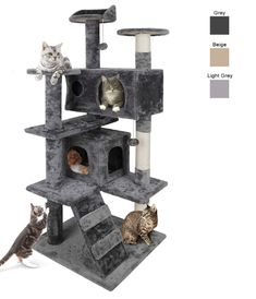 Nova Microdermabrasion 53 Inches Multi- Level Cat Tree Stand House Furniture Kittens Activity Tower with Scratching Posts Kitty Pet Play House (Grey) : Pet Supplies Cat Tree House, Cat Tree Condo, Cat Condo, Cool Cat Trees, Cool Cats, Pet Furniture, House Furniture, Cat Climber, Outdoor Cat Enclosure