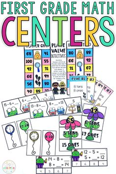 These first grade math centers are fun, independent, easy activities for your 1st grade students to complete during guided math stations. They include skills such as place value to 120, shapes, word problems, skip counting, 2-digit addition, 2-digit subtraction, telling time to the half hour, and basic first grade addition and subtraction facts.