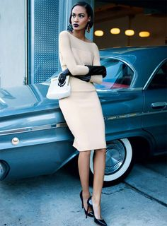 Max Mara Shoes | Nude Dress Max Mara Black Shoes Christian Louboutin Joan Smalls for ...