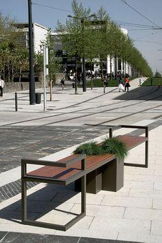 Panchina moderna con fioriera integrata HEDERA double bench ATECH