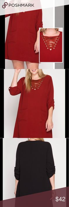 PLUS SIZE TAUPE RED SOUTHWESTERN AZTEC LOOSE FIT SHARKBITE DRESS 1X 2X 3X USA