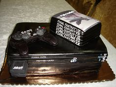 Fondant playstation 2 Groom's cake with Final Fantasy game cake and sugar paste controler. Art Eats Bakery  Greenville, SC, 29607  www.arteatsbakery.com  Phone: 864-201-4448  Email: sales@arteats.com  We specialize in gourmet one of a kind custom artist d   Video Game Systems  Information.