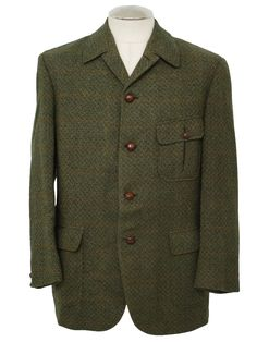 60s -Daks- Mens brown, tan, green wool tweed mod sport jacket with mackintosh style collar, five buttons, bellows patch pockets with buttoned flaps, center vent, and full taffeta lining, very unusual example of Neo-Edwardian/Victorian influences in late 60s mod menswear