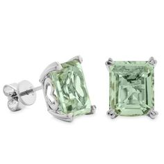 16.20 Carat Praseolite And Sterling Silver Earrings