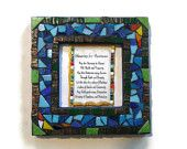 Business Blessing, Wall hanging, Mosaic Glass Art, Office Home Decoration, Blue, Green