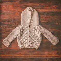 Knitted Hooded Cardigan in Merino Wool Yarn