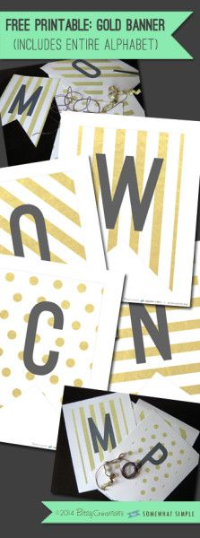 Darling black, white + gold free printable banner! Includes every letter!!