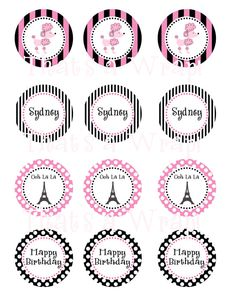 Pink Poodle in Paris Party Circles Cupcake Toppers by thatsawrap2, $10.00
