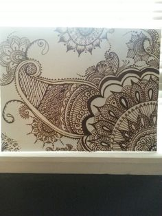 """Mehndi Magic"" Henna on Canvas 14x18- Freehand designed and sealed. Signed by Artist Artist- Dominica Soliz of DomSol Henna Creations and Body Art HTX"