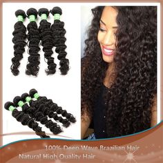 "Deep wavy Unprocessed 10""-30"" Long Hair Deep Wave Brazilian Hair, Natural Hair Styles, Long Hair Styles, Natural Materials, Hair Extensions, Weave Hair Extensions, Extensions Hair, Long Hair Hairdos, Long Hairstyles"