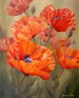 Poppy Dance by Marianne Broome, acrylic on canvas<br>40 x 30 inches