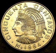 1964 Mexico 50 Centavos AZTEC WARRIOR Coin in AMAZING SHAPE! UNCIRCULATED GEM!