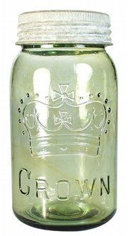 Embossed lettering makes most canning jars identifiable The Crown emblem and name can be found on Canadian jars. This one dates from about 1915 to It was made by an automatic bottling machin… Vintage Mason Jars, Vintage Bottles, Vintage Glassware, Antique Glass Bottles, Bottles And Jars, Glass Jars, Ball Mason Jars, Mason Jar Gifts, Pots