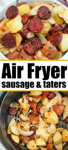Air fryer sausage and potatoes cooked together to perfection! Tender with a little crisp on the outsides makes this a hearty meal everyone will love. #airfryer #airfryerrecipes #ninjafoodi #foodi #ninja #ninjafoodirecipes #sausage #sausageandpotatoes #airfryerpotatoes #FoodRecipes Air Fryer Recipes Vegetarian, Air Fryer Recipes Low Carb, Air Fryer Recipes Breakfast, Air Fryer Dinner Recipes, Healthy Recipes, Meat Recipes, Grill Recipes, Vegetarian Cooking, Sausage Recipes